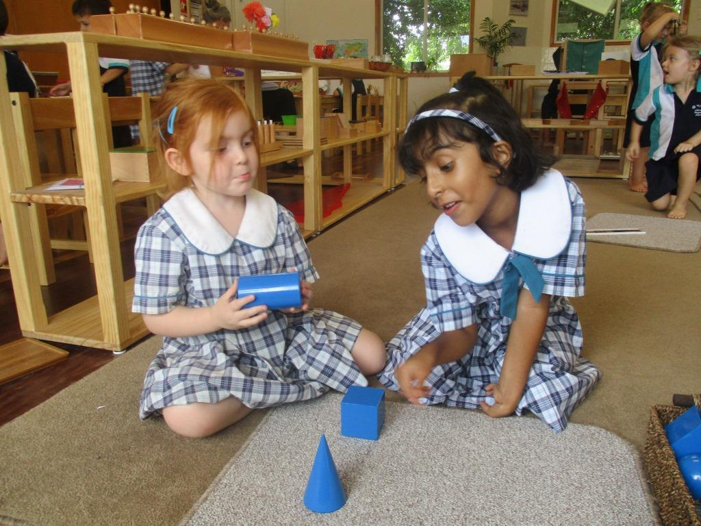 Amitha and Rosie geometric solids